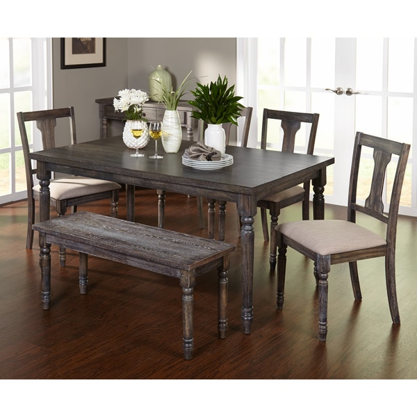 Dining Sets For 6: Simple Living 6pc Burntwood Dining Set With Bench