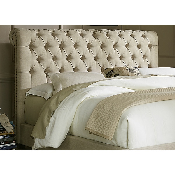 Natural Linen Chesterfield Sleigh Upholstered Bed Set