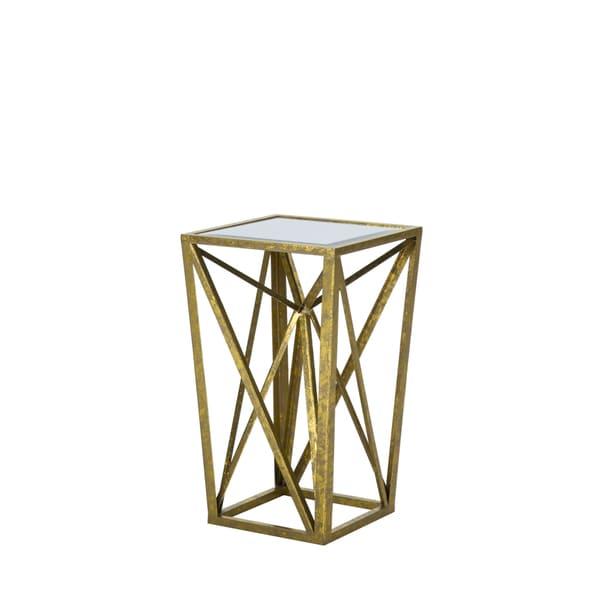 Madison Park Maxx Gold Angular Mirror Top Drum Table