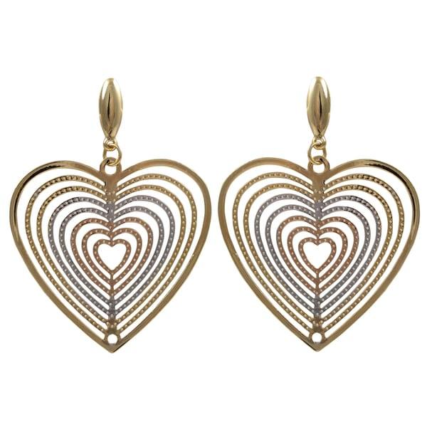 Luxiro Tri-color Gold Finish Concentric Heart Dangle Earrings - Silver