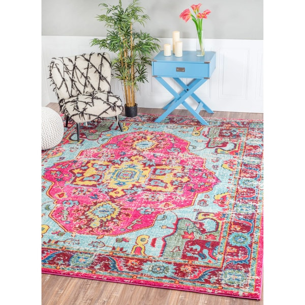Nuloom Distressed Abstract Vintage Oriental Multi Rug 7