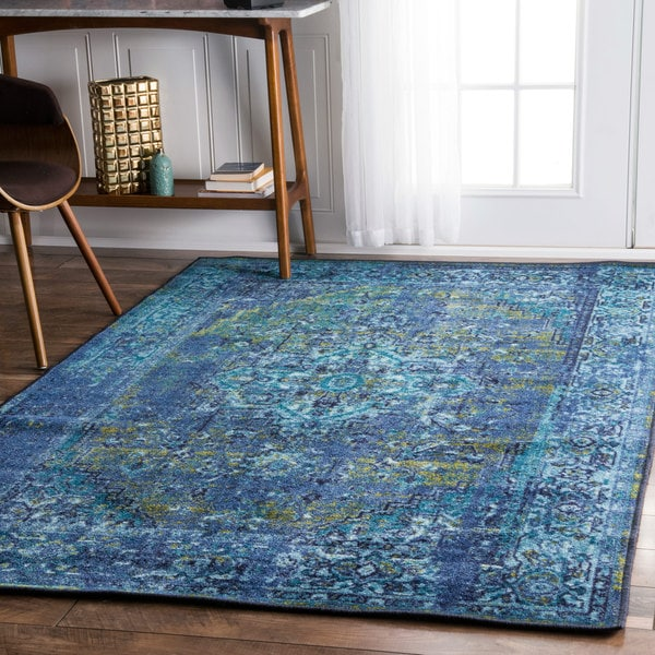 Shop Nuloom Traditional Persian Fancy Aqua Rug: NuLOOM Traditional Vintage Inspired Overdyed Fancy Blue