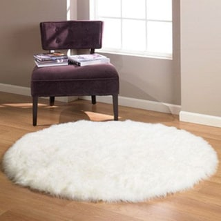 Faux Fur Sheepskin Shag Area Rug White 5 X5 Round