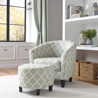 Vintage French Fabric Accent Chair And Ottoman 16547265