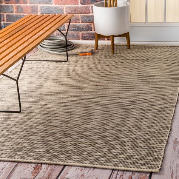 Nuloom Flatweave Checkered Indoor Outdoor Patio Beige