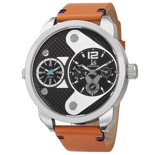 Joshua & Sons Men's Quartz Multifunction Dual Time Leather Strap Watch