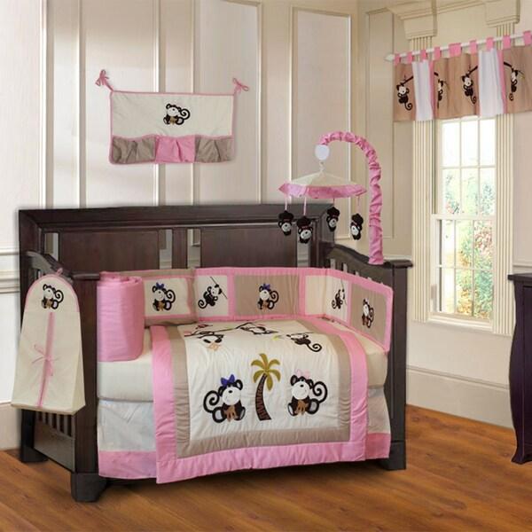 babyfad girls' pink monkey 10-piece baby girls' crib