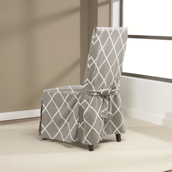 Fitted Dining Room Chair Covers: Sure Fit Lattice Dining Room Chair Slipcover With Ties