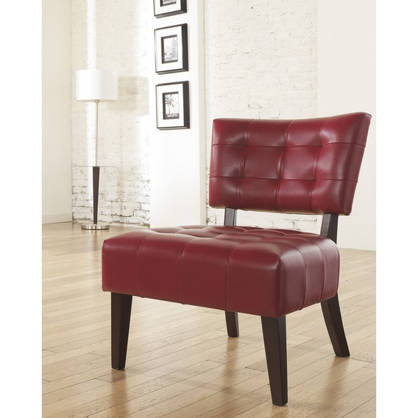 Anjotiya Faux Leather Tufted Accent Chair With Oversized