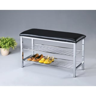 Black Button Tufted Bench With Chrome Shoe Rack