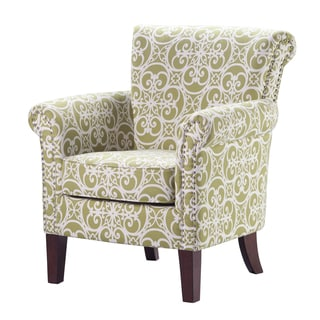 Portfolio Mira Apple Green Modern Floral Arm Chair And
