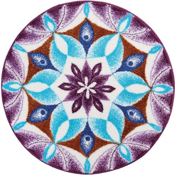 Grund Gratitude Purple Geometric Round Bath Rug 17906122