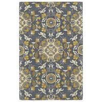 Handmade de Leon Wool Grey Suzani Rug - 8' x 10'