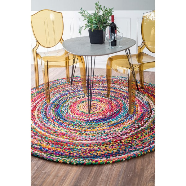 Nuloom Casual Handmade Braided Cotton Multi Round Rug 8