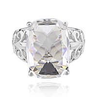 Sterling Silver Rectangle Cushion Genuine Crystal Ring (China)