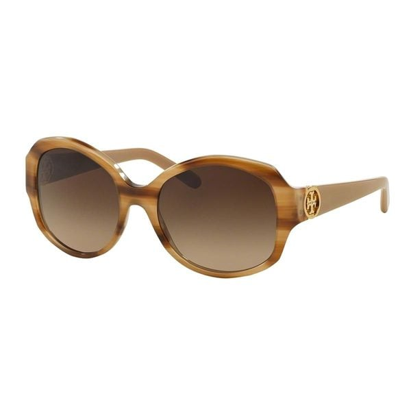 67f7cff708 Tory Burch Womens TY7059 Tortoise Plastic Square Polarized Sunglasses