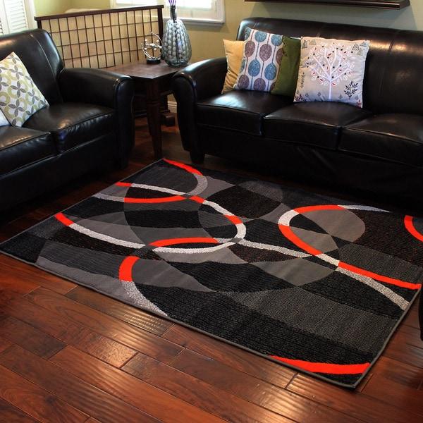 Trendz Grey And Orange Geometric Area Rug 5 X 7