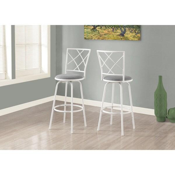 Bar Stool 2 Piece White Metal Grey Fabric Seat 17942334