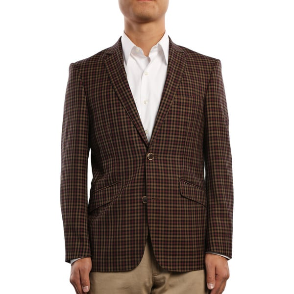 Verno Civello Men S Brown And Burgundy Micro Plaid Slim