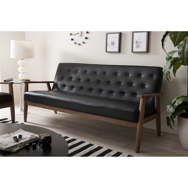 Baxton Studio Sorrento Mid Century Retro Modern Black Faux Leather Upholstered Wooden