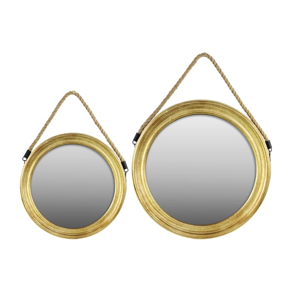 gold finish wood round mirror with rope hanger set of 2 17946409 shopping. Black Bedroom Furniture Sets. Home Design Ideas