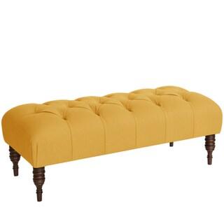 Skyline Furniture Tufted Bench in Klein Mustard