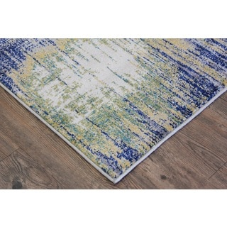 Silver Yellow Turquoise Indoor Area Rug 2 8 X 4 7