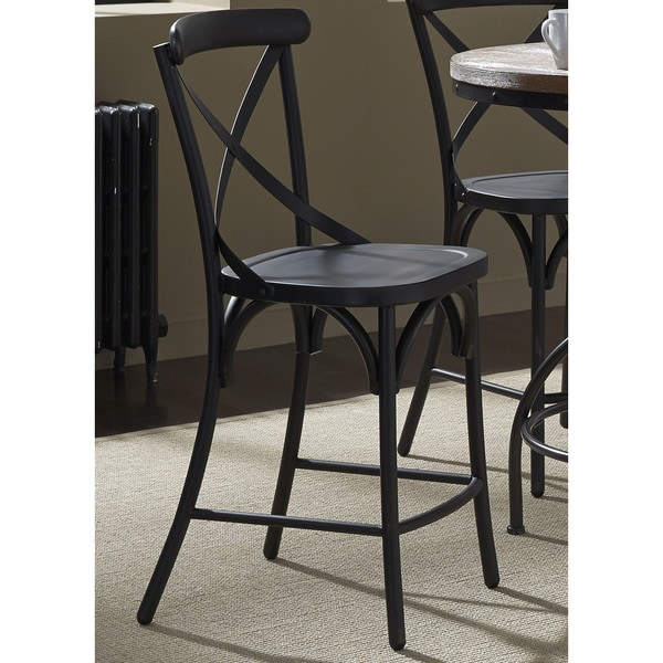 Counter Stools Overstock: Heavy Distressed Metal X-Back Barstool