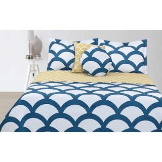 Barclay Hotel Aqua Taupe 3 Piece Quilt Set 12139175