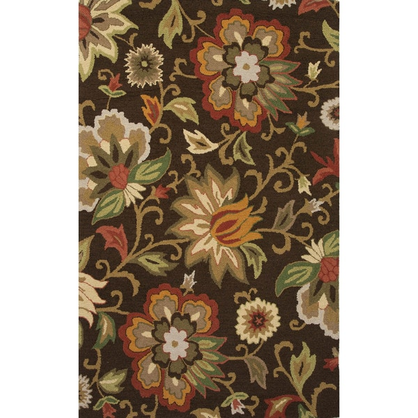 Contemporary Floral Amp Leaves Pattern Brown Red Wool Area