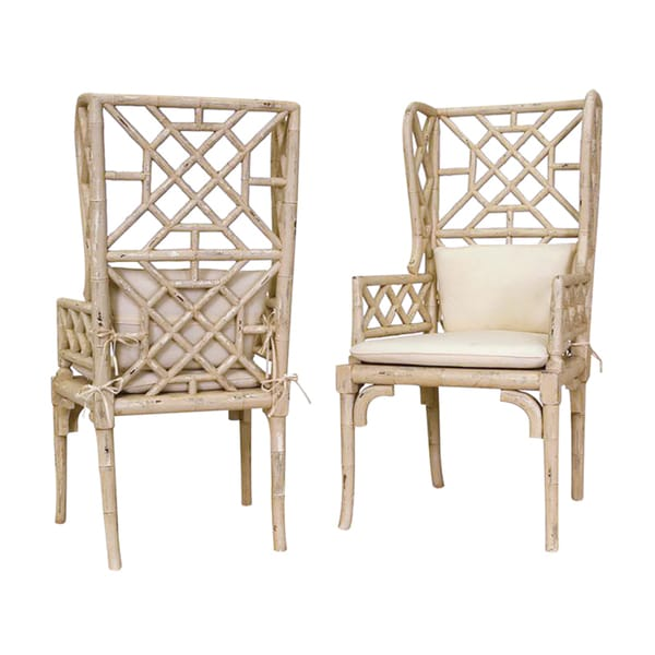 Bamboo Wing Back Chair Set Of 2 17996372 Overstock