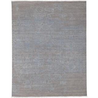 Handmade Blue Grey Wool Art Silk Area Rug 10 X14