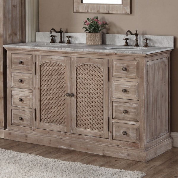 Rustic Bathroom Vanity Set: Rustic Style Matte Ash Grey Limestone Top 60-inch Double