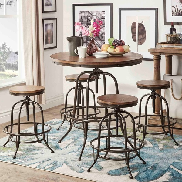 Pub Style Dinette Sets: TRIBECCA HOME Berwick Industrial Style Round Counter