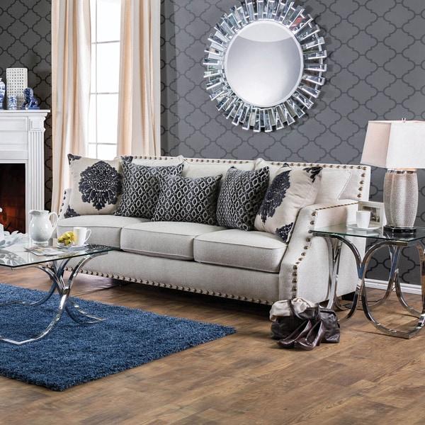 Cheap Contemporary Sofas: Furniture Of America Rita Contemporary Nailhead Sloped Arm