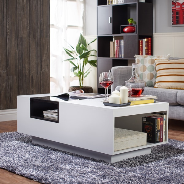 Black Glass Top Coffee Table: Furniture Of America Kassalie Modern Two-tone White/Black