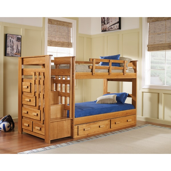 Bed Over Stair Box Google Search: Woodcrest Heartland 5-drawer Stairway Bunk Bed