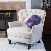 Button Tufted Ivory Fabric Arm Chair