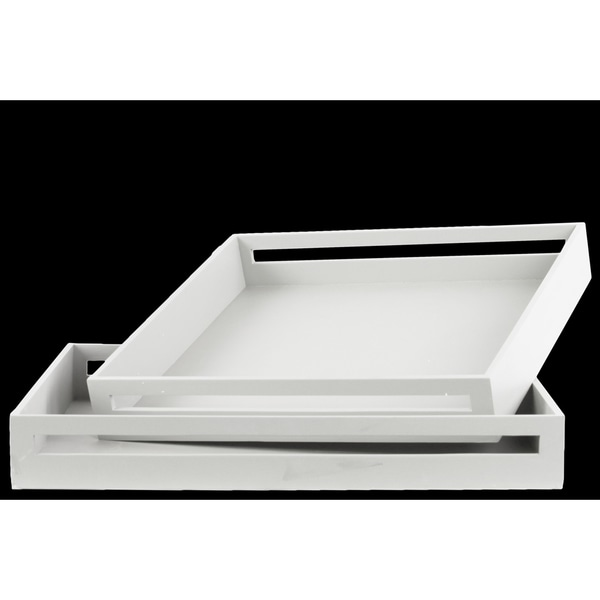 Urban Trends Square White Wood Serving Tray (Cut Of 2