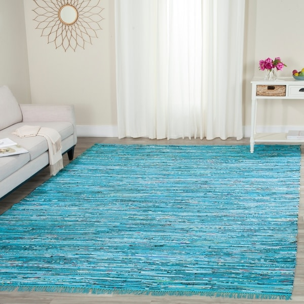 Safavieh Hand-Woven Rag Turquoise/ Multi Cotton Rug - 8' x 10'