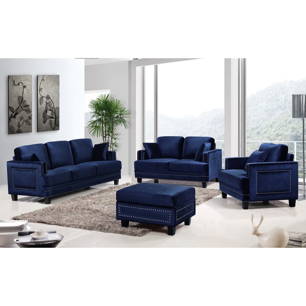 Ferrara navy velvet nailhead living room set 18039475 overstock