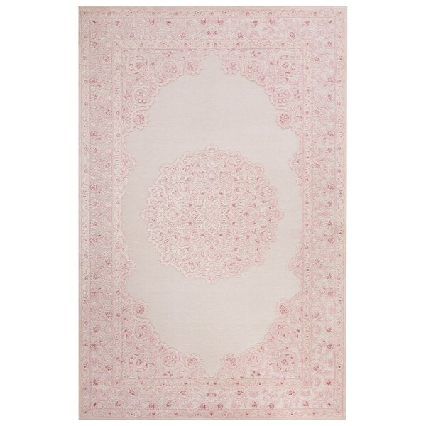 Classic Medallion Pattern Ivory Pink Rayon Chenille Area