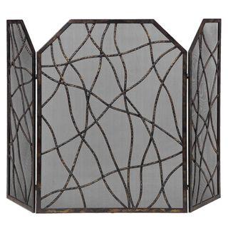 Uniflame 3 Fold Black Fireplace Screen 15235024