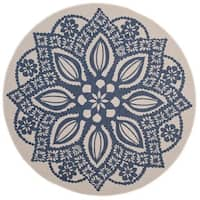 Safavieh Courtyard Floral Medallion Beige/ Navy Indoor/ Outdoor Rug - 6'7 Round