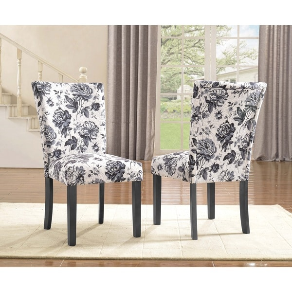 Black White Floral Dining Side Chair Set: Sally Upholstered Grey Flower Print Dining Side Chair (Set