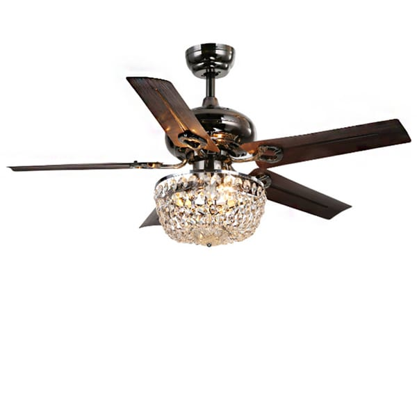 Chandelier Fan: Angel 3-light Crystal 5-blade 43-inch Bronze Chandelier