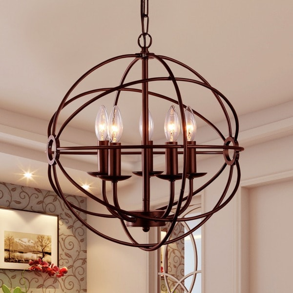 Theo 5 Light Rust 17 Inch Chandelier 18058224 Overstock Com Shopping Great Deals On Warehouse Of Tiffany Chandeliers Amp Pendants