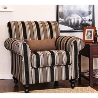 Inspire Q Park West Mocha Brown Stripe Arm Chair