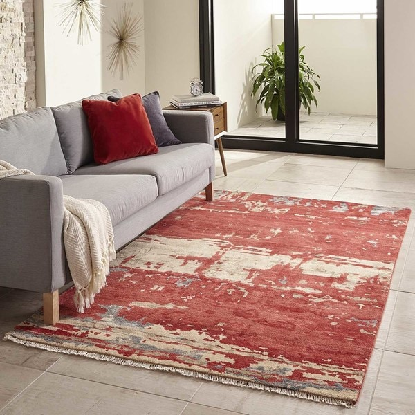 """Momeni Terra Red Hand-Knotted Wool and Viscose Rug - 3'6"""" x 5'6"""""""