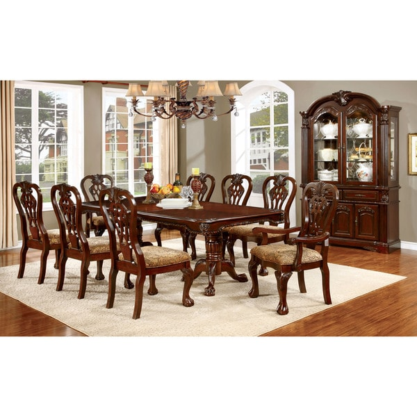 Traditional Dining Room Furniture Sets: Furniture Of America Carpia Formal 9-piece Brown Cherry
